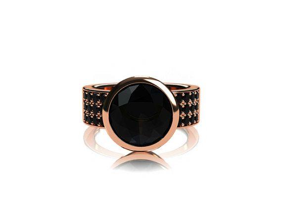 Black Spinel ring black diamond ring rose by TorkkeliJewellery