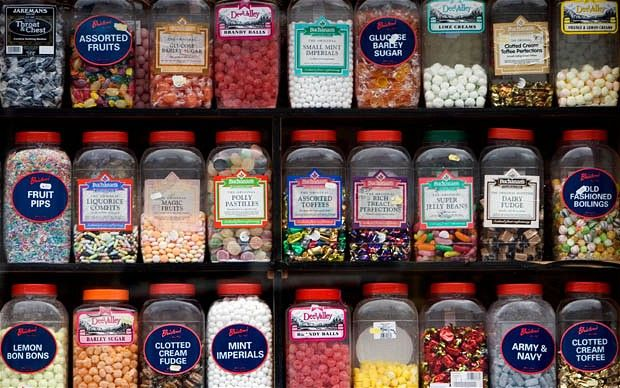 Sweets! The colours, tastes and textures make them so addictive. I love going into a good old fashioned sweet shop where the walls are lined with shelves stacked with jar upon jar, and you leave the shop with a paper bag full to the brim :0)