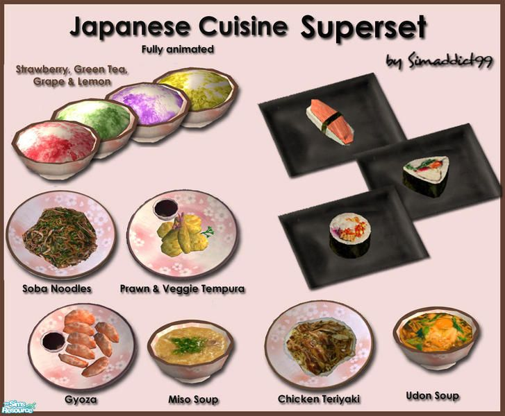 17 best images about asian sims 2 food on pinterest for Asian tokyo japanese cuisine