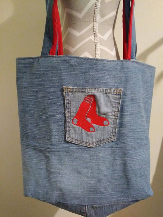 Multi-Look Up Cycled Denim Red Sox   Red Chevron Print Fabric