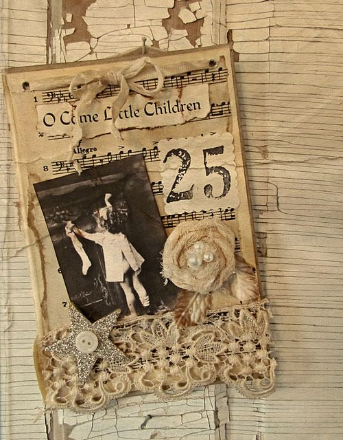 Here is the other one I want to make for Christmas!  I can use my vintage postcards!  Love the fabric and embellishments!