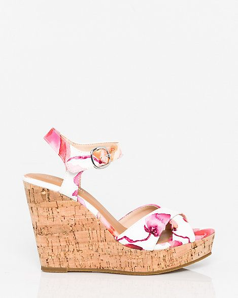 LE CHÂTEAU: Floral Print Leather-Like Open Toe Wedge