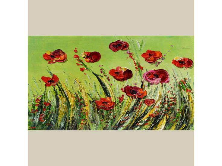 """Green Field Landscape Original painting with palette knife """"Poppies"""" huge 40x23 Red flowers Grass Nature Valley Wall decor  ART by Marchella Piery"""