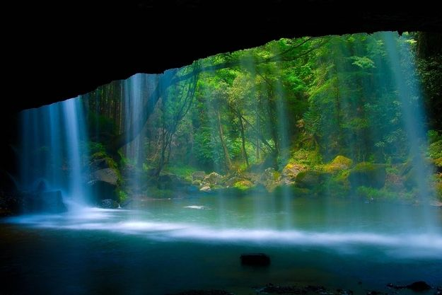 There is a lot to see in this beautiful world.  Loved this shot of a waterfall somewhere near the town of Oguni in Kumamoto Prefecture, Japan
