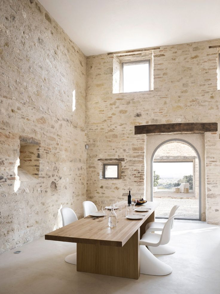 the 300 year old casa olivi is located in treia tuscany in italy its renovated by 2 swiss architects markus wespi and jerome de meuron protected