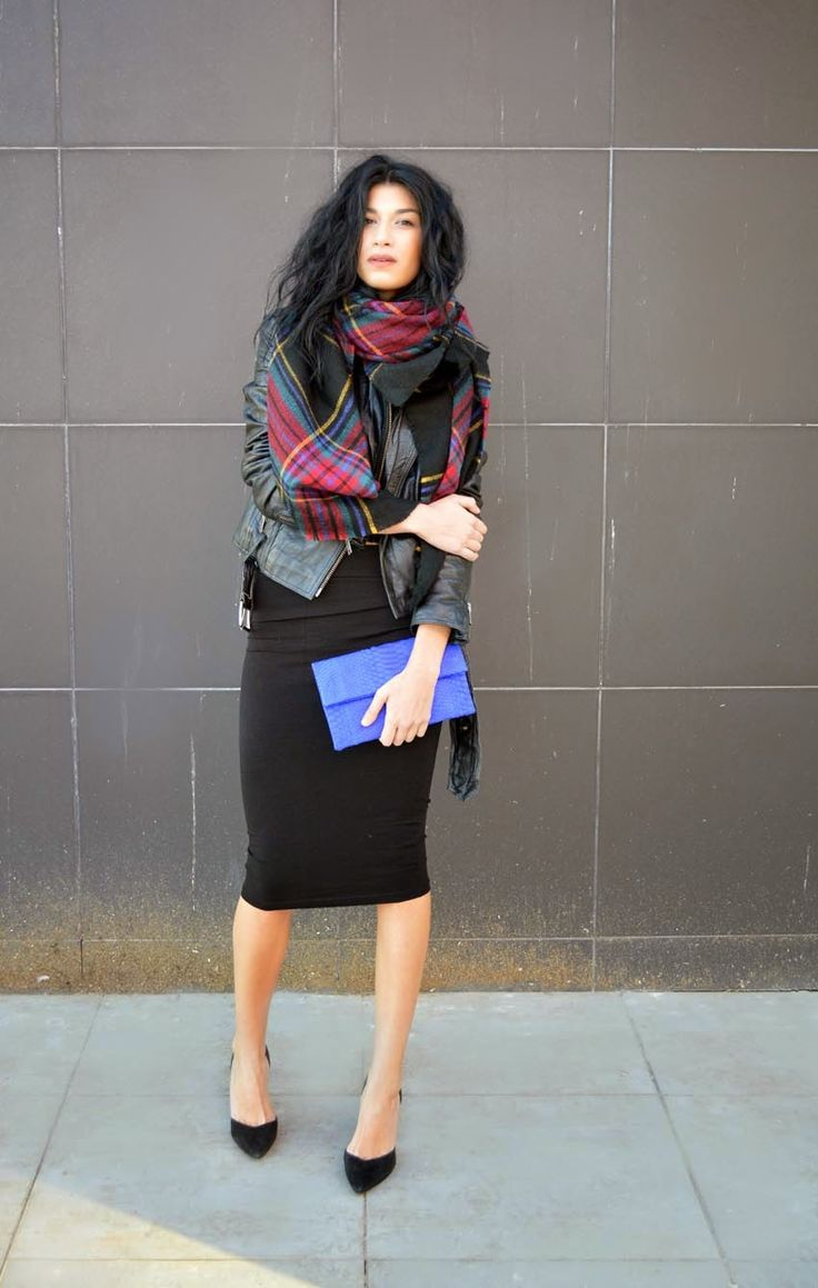 Women's Blue Leather Clutch, Black Suede Pumps, Black Plaid Shawl, Black Midi Skirt, Black Leather Biker Jacket, and Charcoal Cropped Sweater