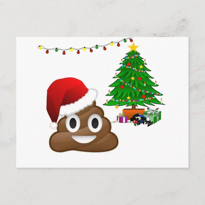 Christmas Poo Emoji Holiday Postcard Zazzle Com In 2020 Emoji Christmas Emoji Christmas Tree Holiday Postcards