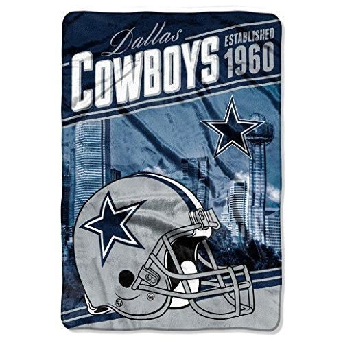 NFL Cowboys Stagger Oversized Throw Blanket 62 X 90 Football Themed Bedding Sports Patterned Team Logo Fan Merchandise Athletic Team Spirit Fan Navy Silver Polyester