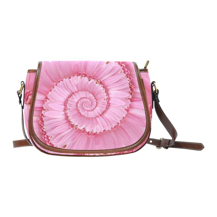 Pink Gerbera Flower Spiral Droste Saddle Bag/Large (Model 1649)