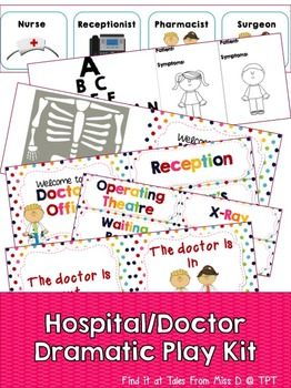 Set up a doctor's office or hospital in your classroom with this Dramatic Play kit