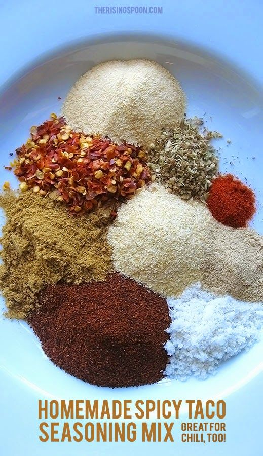 Did you know that most taco seasoning packets at the grocery store are full of questionable ingredients like maltodextrin, modified food starch, monosodium glutamate (MSG) and autolyzed yeast extract (a sneaky name for MSG). They even contain unnecessary ingredients like sugar, TONS of sodium, whey (milk) and cellulose. Make up your own batch at home using simple spices in five minutes or less and it will last you months!  | therisingspoon.com #realfoodrecipes