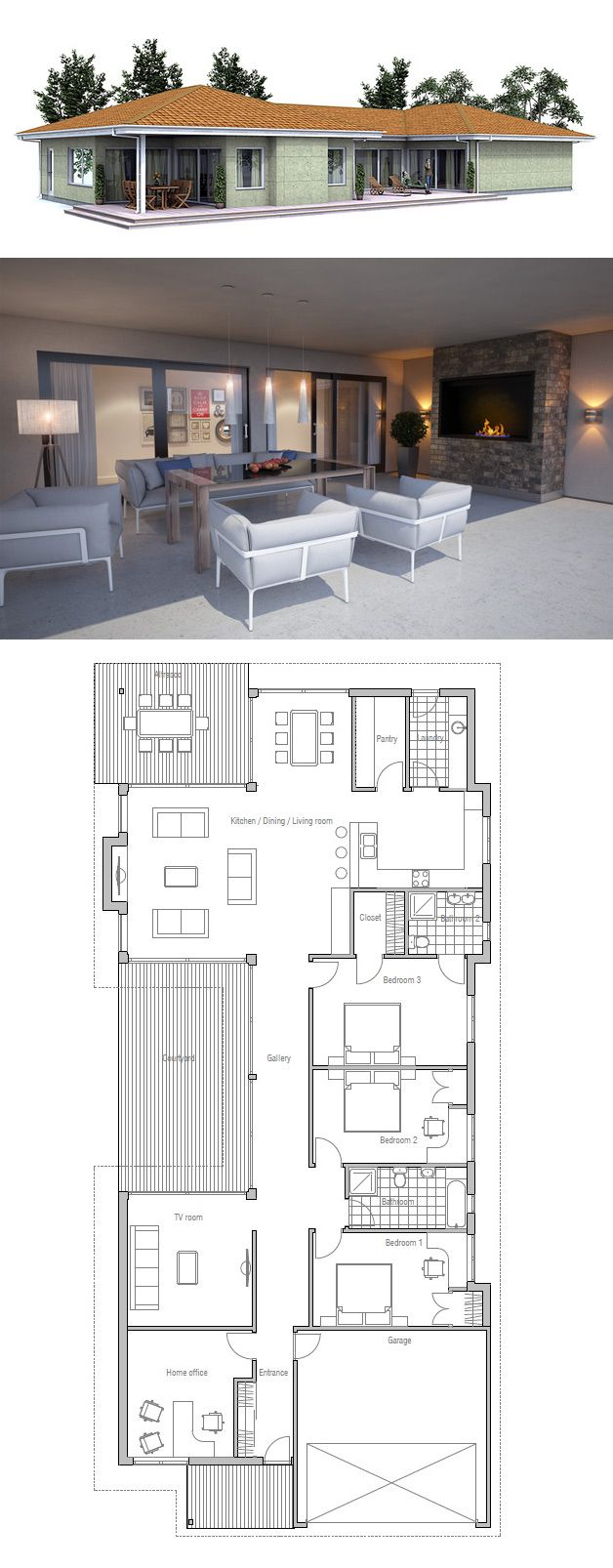 25 best ideas about narrow house plans on pinterest for Narrow lot house plans with courtyard