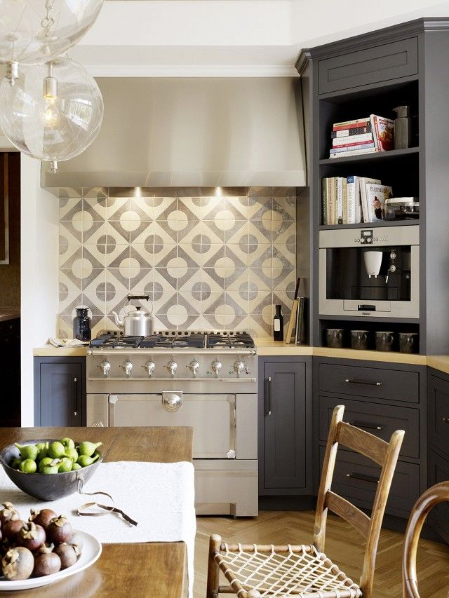 Transitional Gray Kitchen With Ceramic Tiles