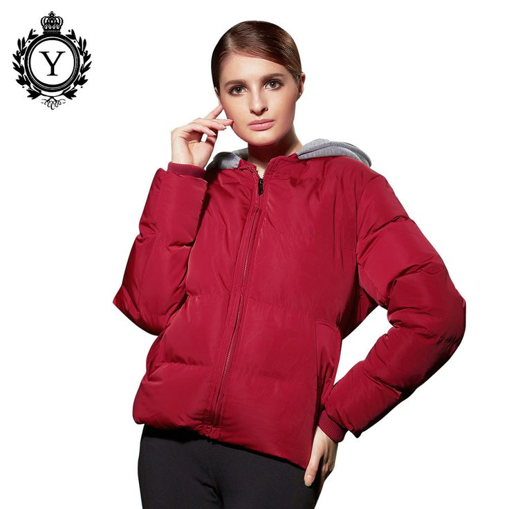 COUTUDI Women Coats and Jackets Female Red Winter Jacket Windproof Solid Warm Ladies Parkas Jacket Hooded Short Down Coats