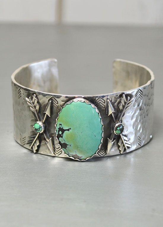 Richard Schmidt Arrows & Turquoise Silver Cuff | The Gypsy Wagon