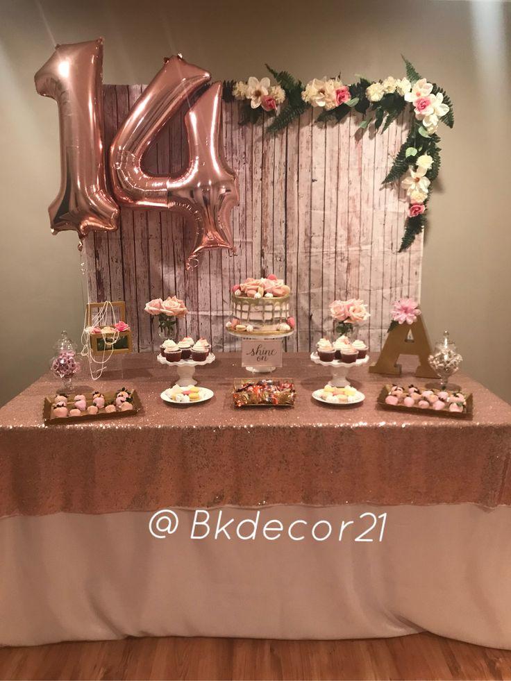 Rosegold 14th bday decoration! 🌸🌿🌸 Golden birthday, 14th