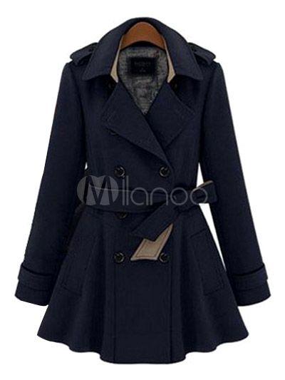 Fusciacca tacca collare cotone Blend doppio petto pulsante frontale qualità Trench Coat per le donne - Milanoo.com