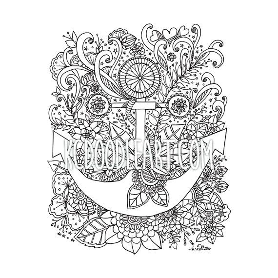instant digital download adult coloring page anchor by kcdoodleart on etsy