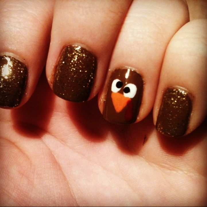 Cute Idea For Thanksgiving Nails. Love The Turkey Nail Art. Crushing On The  Nail Color And The Sparkles Too.
