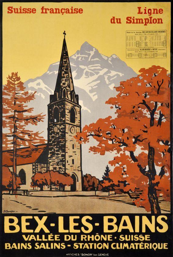 Bex les Bains, Suisse Française, ligne du Simplon by Courvoisier Jules / 1916.