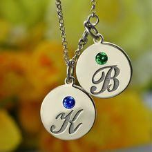 Personalizované Počáteční Náhrdelník Disk s kámen Silver rytého Kids Jméno náhrdelník Připomeňte maminky Děti typovém štítku šperky (Čína (pevninská část))