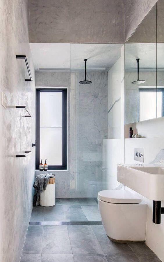 baño alargado | Narrow bathroom designs, Bathroom layout ...