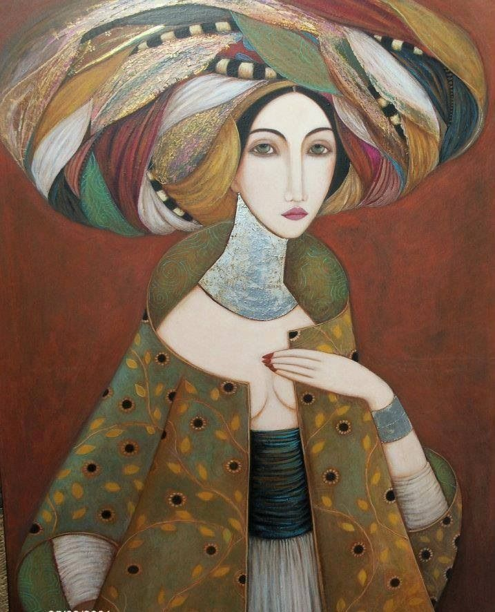 Self-taught painter from Oran, Faiza Maghni lives and works in Paris for ten years. Faiza attempts to translate through his portraits the beauty and complexity of women in his paintings symbolized the richness of costume and expression enigmatic look