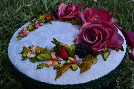 """Шкатулки ручной работы. Ярмарка Мастеров - ручная работа. Купить Шкатулка  с вышивкой лентами """"Розовые розы"""". Handmade. Шкатулка"""