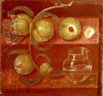 Melograne, pesche  e sottile vaso di vetro dalla Domus dei Cervi a Ercolano