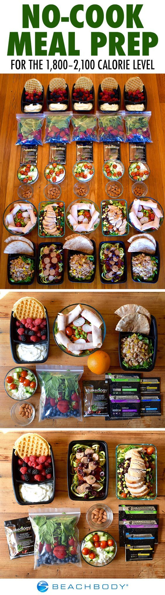 This no-cook menu is based on the color-coded Portion Fix container system that helps you eat the proper combination of protein, carbs, fruits and vegetables, and healthy fats every day. It follows the 1800-2100 calorie level, though those following the 22 Minute Hard Corps nutrition plan at this calorie level should add two extra red containers and one tsp.