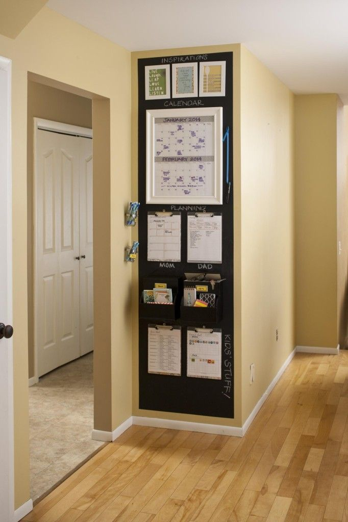 DIY this awesome and functional family command center. You don't have to have a large room – in fact, a small space at the hub of the house limits the extra elements and focuses on the essentials. Try making your own in a kitchen or any other wall you use often, such as in an entryway. Your family's organizations skills will be exceptional.