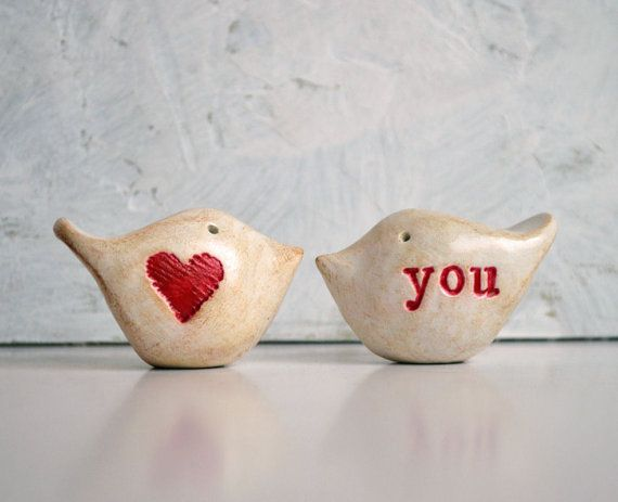 Valentines Day gift  Wedding cake topper Love birds  by SkyeArt, $34.00