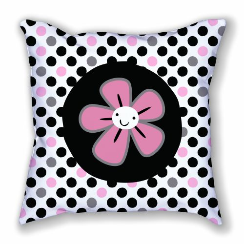 Happy Flower and Polka Dots Pillow