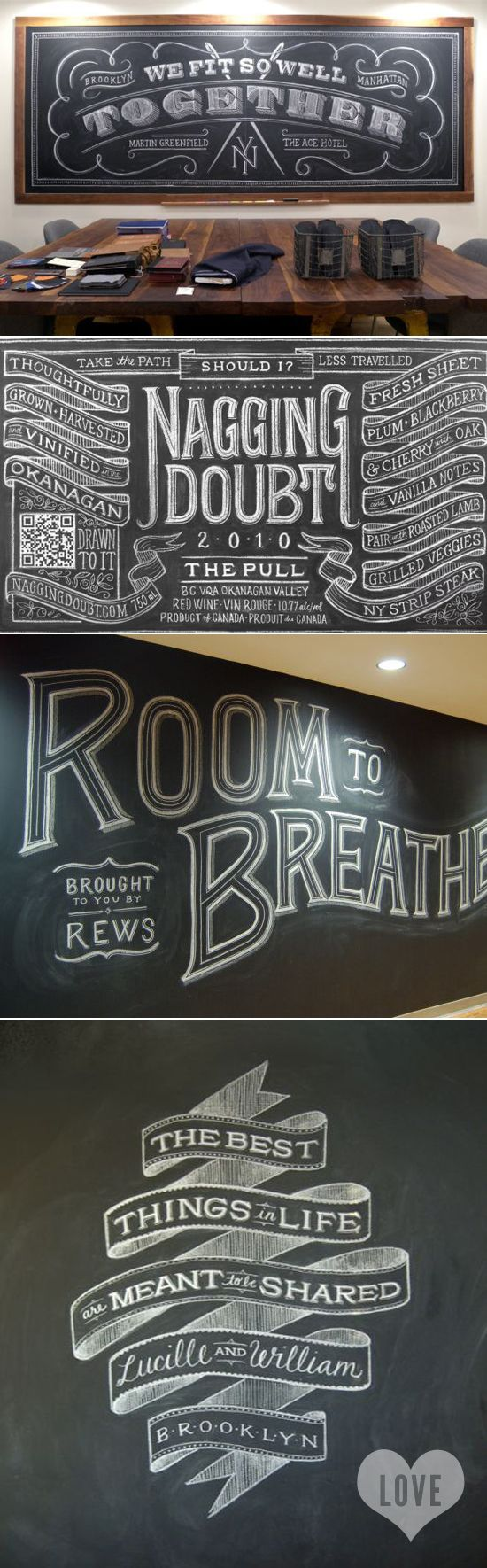 The chalkboard wall has been cleaned, time to draw some new #typography #inspiration