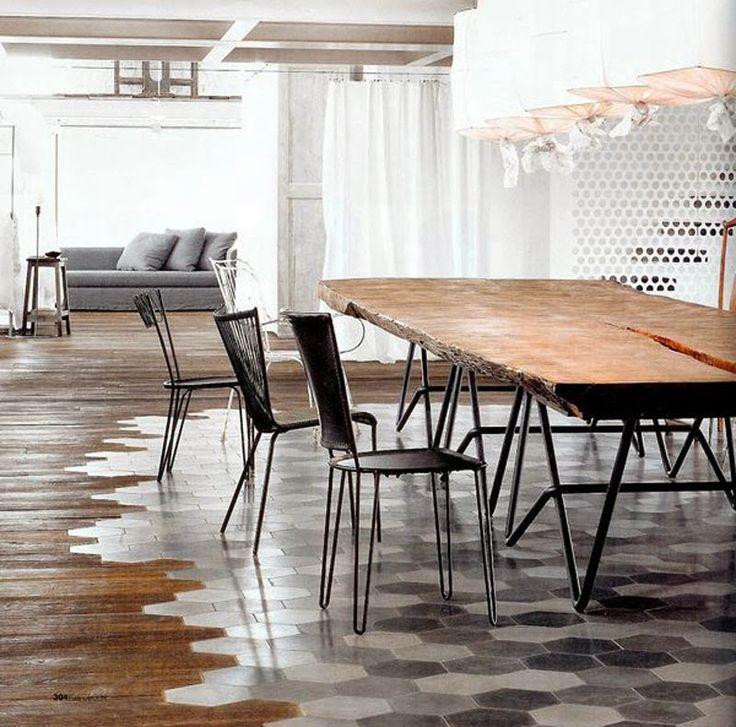 Un nueva tendencia en suelos: Una selección de creativos suelos de madera y baldosa hidráulica