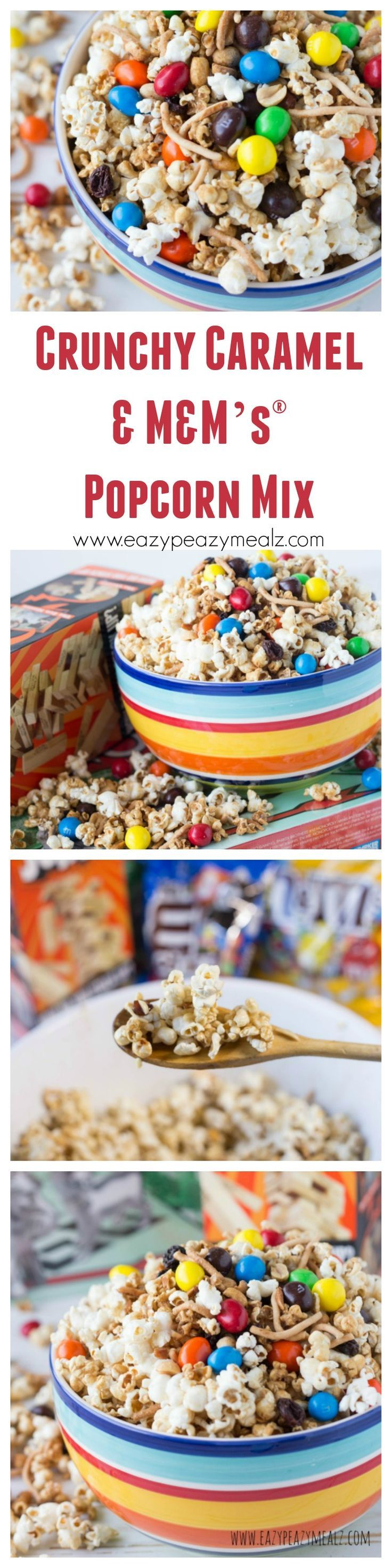 This popcorn is quick, easy to grab, and that won't get your hands sticky and ruin the game. This Crunchy Caramel & M&M's® Popcorn Mix offers something for everyone crunch, chocolate, caramel, and salt without a gooey mess!