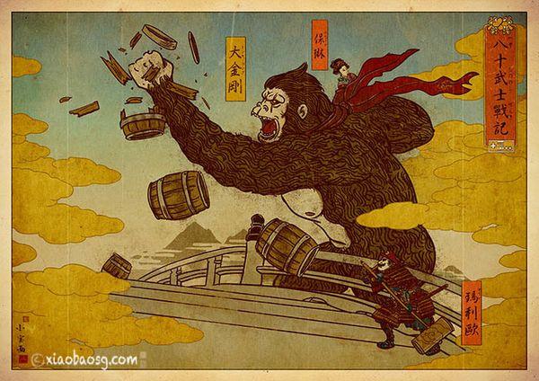ゼルダ、マリオ、ドンキーコング・・・80年代のファミコンを浮世絵風に描いてみた - ドンキーコングって「大金剛」でいいの?ほんとに? 大猿とタル、といえばこれしかなし。右側、端のたもとにマリオもいますね。