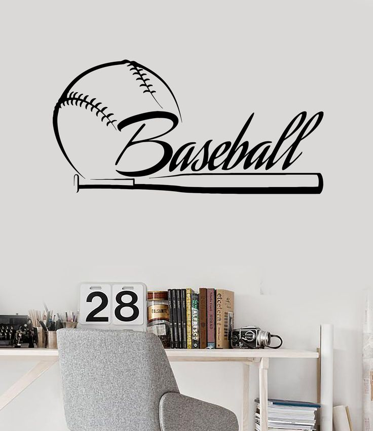 Vinyl Wall Decal Baseball Bat Word Sports Fan Stickers Mural Unique Gift Ig4168