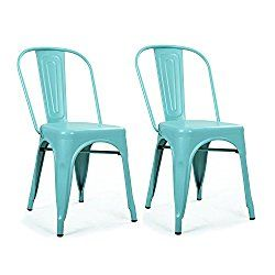 Homebeez Metal Dining Chair 2 Stacking Chairs Outdoor and Indoor. Industrial Chic Dining Bistro Cafe Chair,Light Blue (Set of 2)