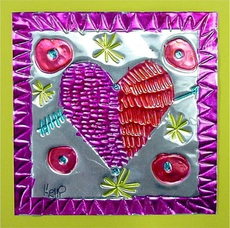 Tin Hearts- another idea of foil paper + sharpies.