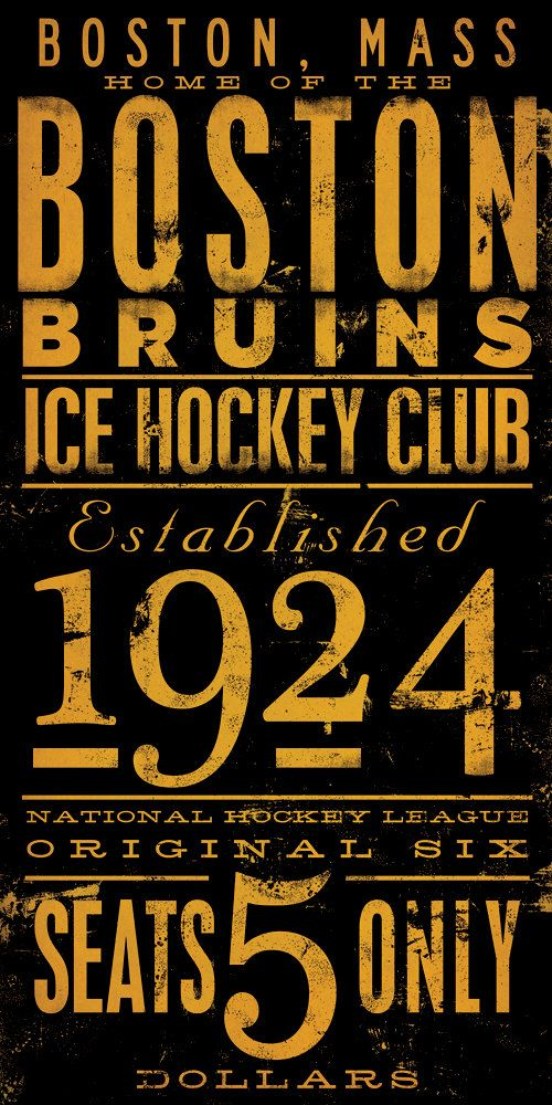 "fun for the future ""man"" cave - BOSTON bruins ice hockey club original graphic art giclee archival signed print 10 x 20 by stephen fowler. $25.00, via Etsy."