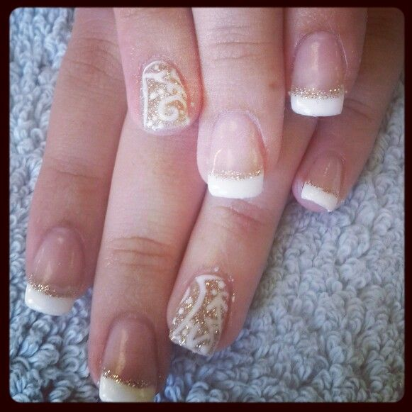 #nailart #nails #love #funky #white #gold #silver #mosaic #french#barrettkirsten