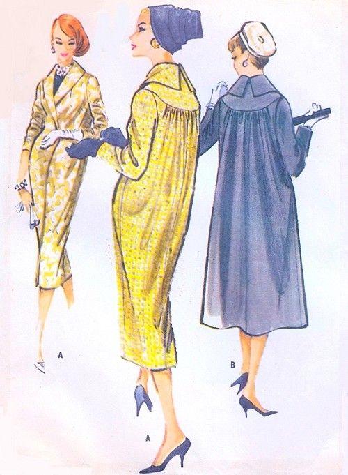 1950s Elegant Coat Pattern McCalls 4390 Day or Evening Coat 2 Beautiful Designs Slim or Full Back Bust 32 Vintage Sewing Pattern