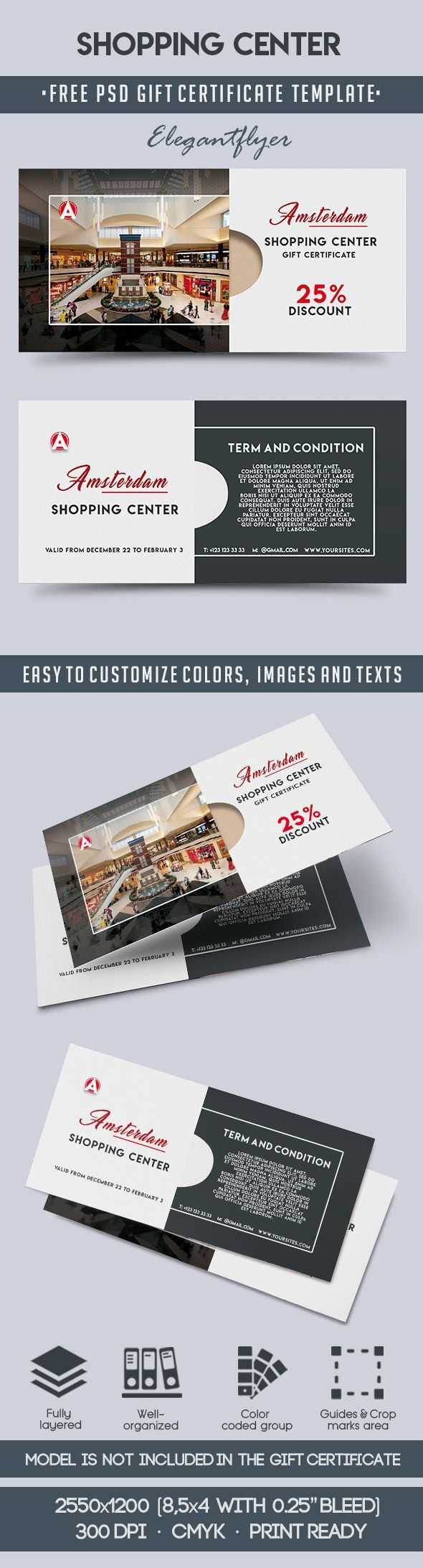 shopping center free gift certificate psd template