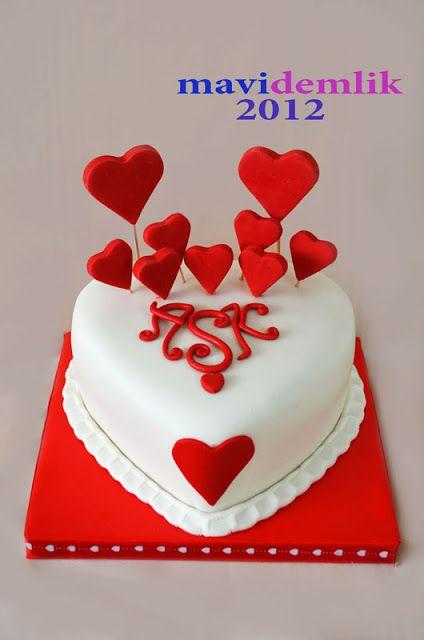 mavi demlik mutfağı- izmir butik pasta kurabiye cupcake tasarım- şeker hamurlu-kur: aşk pastası