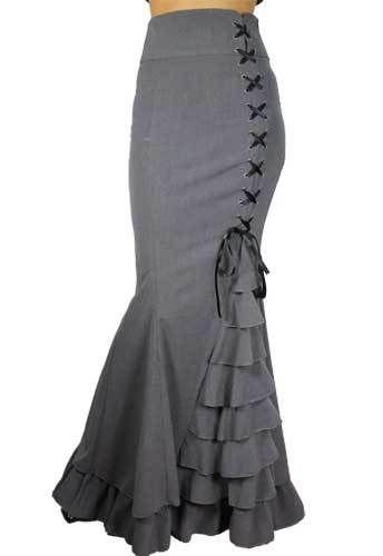Grey Fishtail Corset Mermaid Gothic Ruffle Romantic Extra Long Skirt | eBay