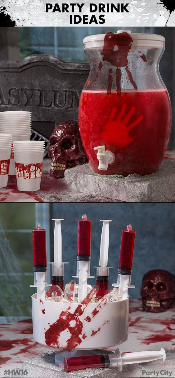 """Throw a bloody good Halloween party with Party City! Begin by filling a clear beverage dispenser with a scarlet drink of your choice. Next  create some creepy hands out of ice using our hand mold. Then  give your guest a healthy dose of mystery """"medicine"""" with Party Shooter Syringe Shots. Complete the look with bloody handprint gel decorations and blood-spattered plastic cups."""