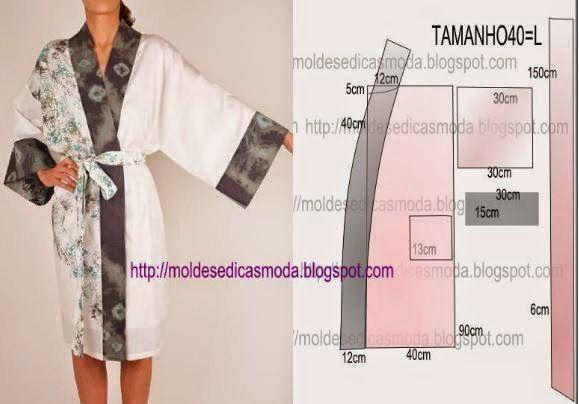 Moldes Moda por Medida: ROBE MAGA JAPONESA FÁCIL DE FAZER - 2