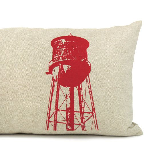 Old water tower pillow cover in red and natural beige - Industrial decor - Decorative throw pillow - 12x18 Lumbar pillow - Modern pillow
