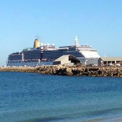 Cruise liner docking in Fremantle. View from Bathers Beach, Fremantle, WA